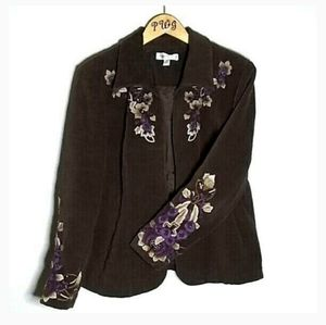 Coldwater Creek size 16 brown embroidery blazer
